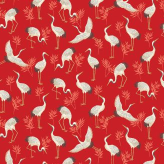 Tissu patchwork grues japonaises fond rouge cardinal - Michiko