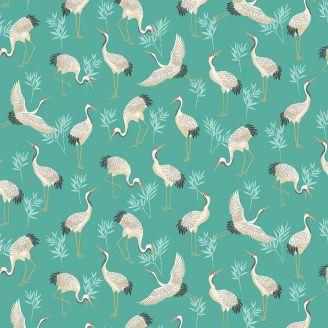 Tissu patchwork grues japonaises fond turquoise - Michiko
