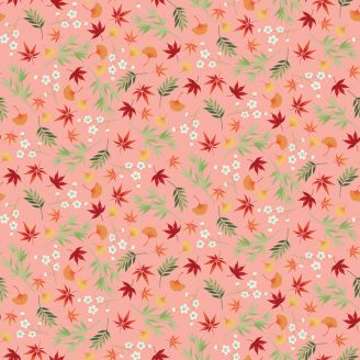 Tissu patchwork feuillages japonais fond rose - Michiko