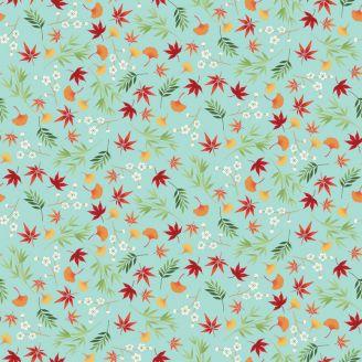 Tissu patchwork feuillages japonais fond turquoise - Michiko