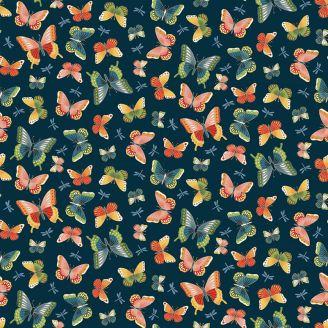 Tissu patchwork papillons fond bleu - Michiko
