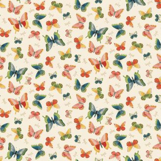 Tissu patchwork papillons fond écru - Michiko