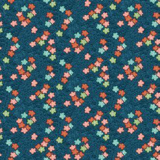 Tissu patchwork sakura fond bleu - Michiko