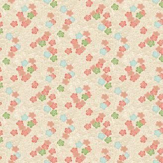 Tissu patchwork sakura fond écru - Michiko