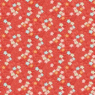 Tissu patchwork sakura fond rouge cardinal - Michiko