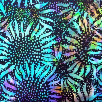 Tissu batik tournesols vert fluo fond noir