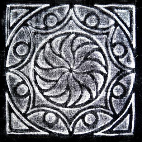 Plaque texturée kaléidoscope rosace 19