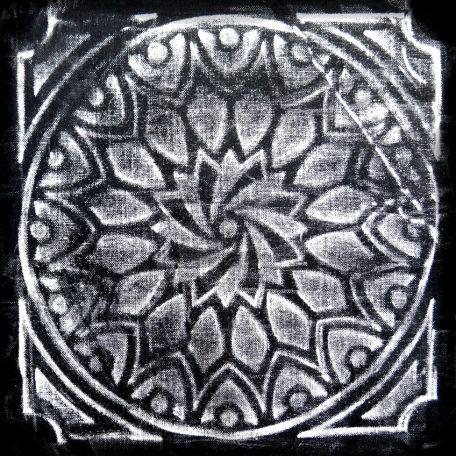 Plaque texturée kaléidoscope rosace 22