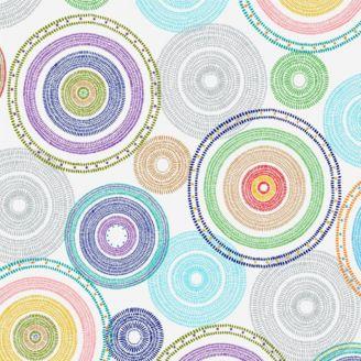 Tissu patchwork en grande largeur (270 cm) cercles concentriques multico fond blanc