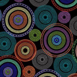 Tissu patchwork en grande largeur (270 cm) cercles concentriques multico fond noir