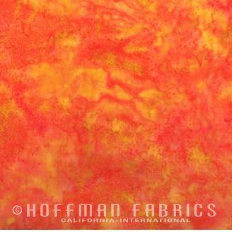 Tissu batik marbré rouge orange coquelicot