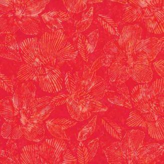Tissu batik fleurs d'hibiscus rouges ton sur ton