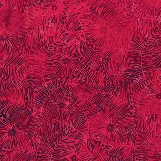 Tissu batik fougères fleuries rouge velours