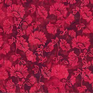 Tissu batik fleurs rouge velours