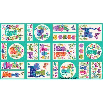 Tissu patchwork petits panneaux de chats - Katie's cats
