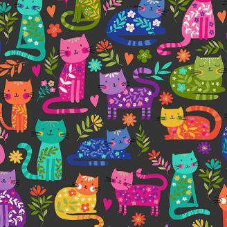 Tissu patchwork chats multicolores fond noir - Katie's cats