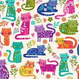Tissu patchwork chats fond crème - Katie's cats