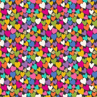 Tissu patchwork coeurs multicolores fond noir - Katie's cats