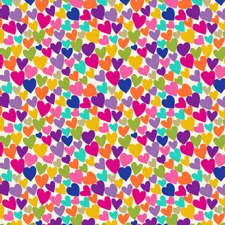 Tissu patchwork coeurs multicolores fond crème - Katie's cats