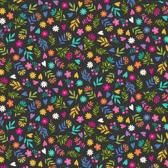 Tissu patchwork fleurs multicolores fond noir - Katie's cats