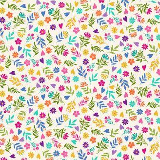 Tissu patchwork fleurs multicolores fond crème - Katie's cats