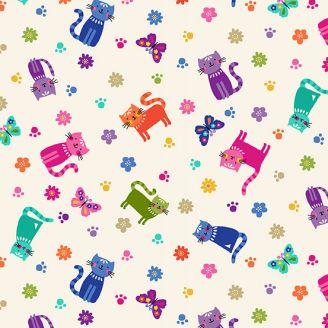 Tissu patchwork petits chats multicolores fond crème - Katie's cats