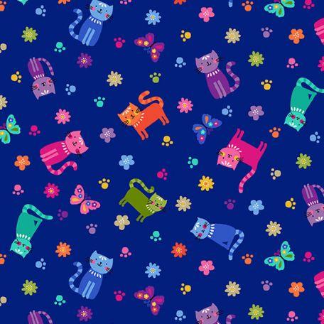 Tissu patchwork petits chats multicolores fond bleu - Katie's cats