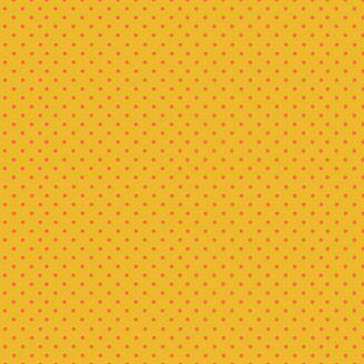 Tissu patchwork minis pois oranges fond jaune