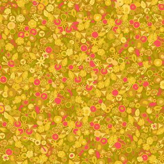 Tissu patchwork myrtilles et fleurs jaunes - Sun Prints