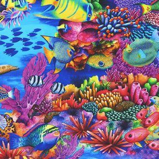 Tissu patchwork poissons tropicaux multicolores - Coral Canyon