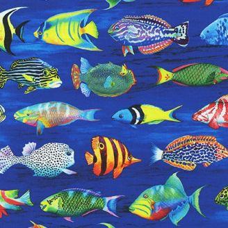 Tissu patchwork poissons du Pacifique - Coral Canyon
