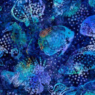 Tissu patchwork poissons des eaux chaudes fond bleu roi - Aquatica