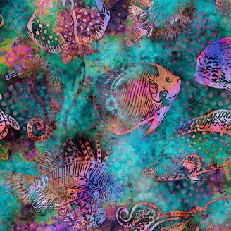 Tissu patchwork poissons des eaux chaudes fond turquoise - Aquatica