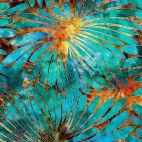 Tissu batik fleurs turquoises et oranges - Tropicalia