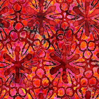 Tissu imprimé fleurs étoiles rouges - Tropicalia