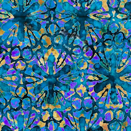 Tissu batik fleurs étoiles turquoises - Tropicalia