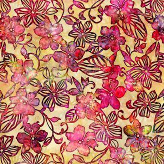 Tissu batik fleurs rouges fond jaune - Tropicalia