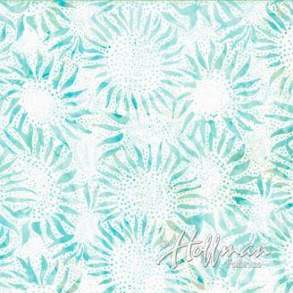Tissu batik tournesols turquoise clair