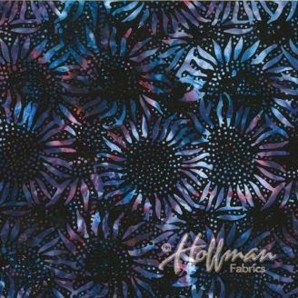 Tissu batik tournesols raisin noir