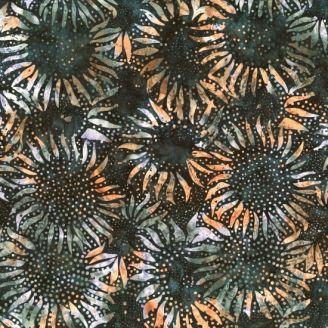 Tissu batik tournesols cuivrés fond gris anthracite