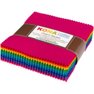 Grand charm pack de tissus unis Kona - Bright 101