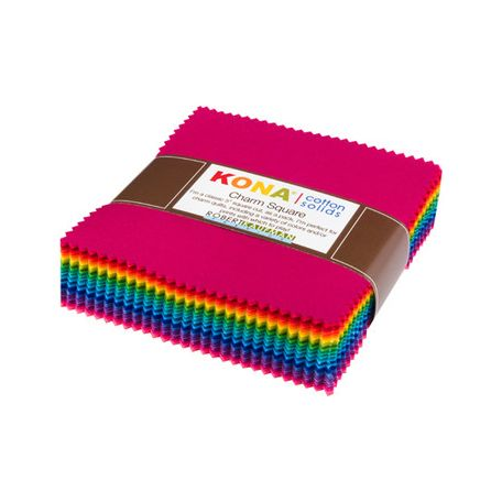 Grand charm pack de tissus unis Kona - Bright 101