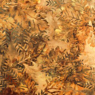 Tissu batik automne feuilles de chêne brunes