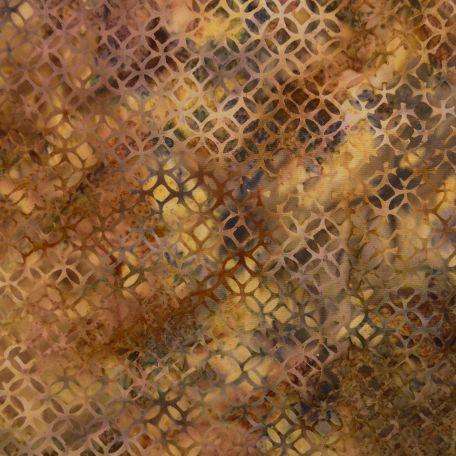 Tissu batik motif géométrique couleurs d'automne marron