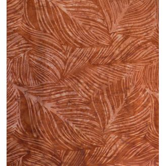 Tissu batik feuilles marron acajou