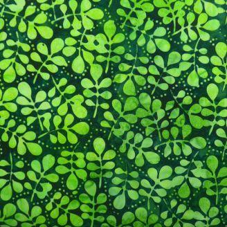 Tissu batik feuillages vert tropical