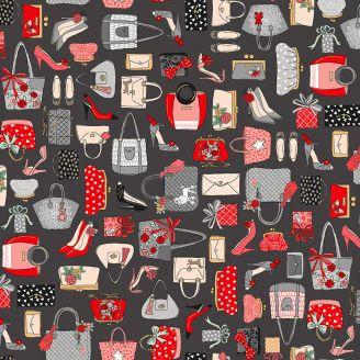 Tissu patchwork sac à mains fond gris - Pamper