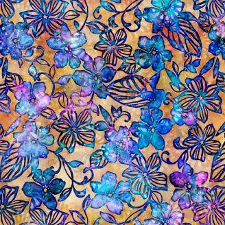 Tissu batik fleurs bleues fond jaune - Tropicalia