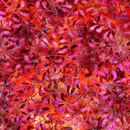 Tissu imprimé fleurs rouges fond magenta - Tropicalia
