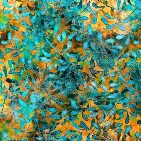 Tissu imprimé fleuilles de vigne turquoises fond jaune - Tropicalia